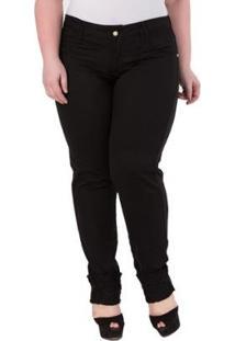 a0177b7721dade Calça Feminina Sarja Elastano Jeans Renda Reta Cintura Alta Plus Size Preta  Feminino-Preto Confidencial Na Extra - Barra Cigarrete Com