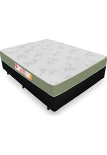 Cama Box Casal + Colchão De Espuma D33 - Castor - Sleep Max 138X188X53Cm Preto