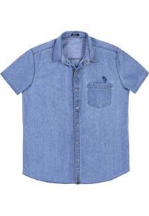 Camisa Jeans Masculina Slim Em Algodão Com Bolso