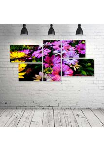 Quadro Decorativo - Purple-Yellow-Daisy-Flowers - Composto De 5 Quadros - Multicolorido - Dafiti