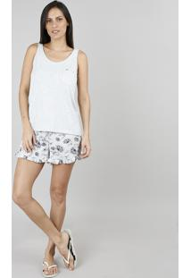 Pijama Feminino Estampado Floral Cinza Mescla
