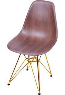 Cadeira Eames Polipropileno Amadeirado Escura Base Cobre - 46146 - Sun House