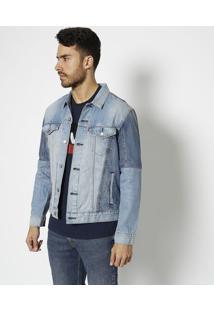 Casaco Jeans Com Pespontos- Azul Clarolevis