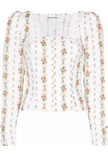 Reformation Blusa Fillmore Com Estampa Floral - Branco