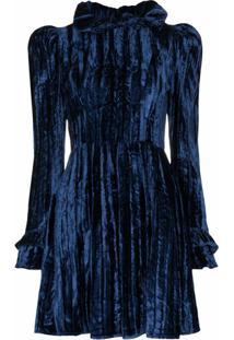 Batsheva Vestido Prairie De Veludo - Azul