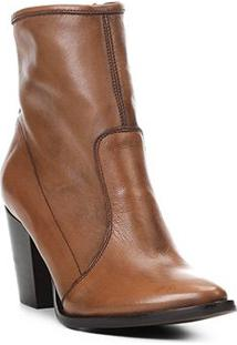 Bota Couro Cano Curto Shoestock Bico Fino Feminina - Feminino-Caramelo