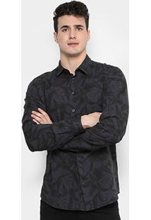 Camisa Colcci Slim Fit Floral Masculina - Masculino