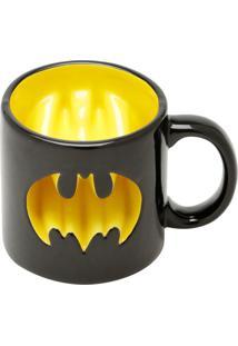 Caneca Porcelana Decorativa Mould Wb Jl Core Batman Logo Preta Amarela 14.4X10.3X9.9Cm 320Ml Urban