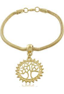 Pulseira Com Pingente Árvore Da Vida 3Rs Semijoias Dourado