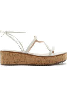 Sandália Flatform Lace-Up Cortiça White   Schutz