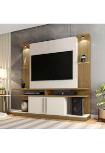 Rack Com Painel Para Tv Até 60 Polegadas Com Led York 2075190 Cinamono/Off White - Bechara Móveis