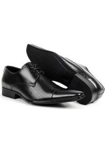 Sapato Social Couro Bico Fino De Amarrar Bigioni Masculino - Masculino-Preto