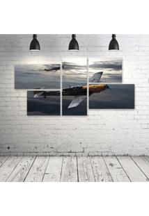 Quadro Decorativo - War-Thunder-Game-Video-Military-War - Composto De 5 Quadros - Multicolorido - Dafiti