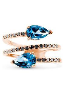 Anel Ouro Rosé Topázio London E Diamantes
