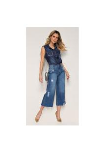 Calça Jeans Express Wide Leg Boca Larga Bel Azul