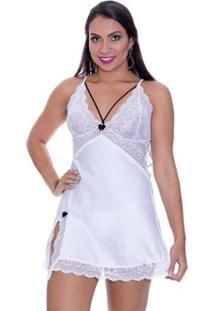 Camisola Estilo Sedutor Strappy Em Cetim E Fenda Na Coxa Com Calcinha - Feminino-Branco