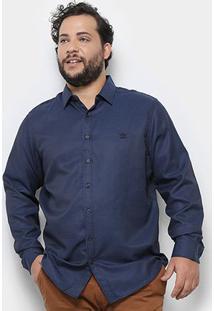 Camisa Social Delkor Plus Size Masculina - Masculino