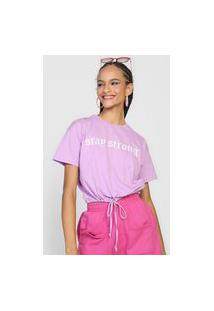 Camiseta Forever 21 Stay Strong Lilás