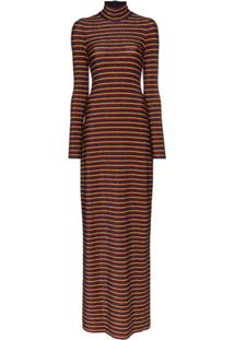 Rosetta Getty Metallic Stripe Turtleneck Maxi Dress - Amarelo