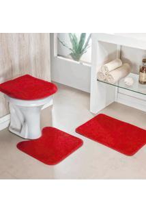 Jogo Banheiro Dourados Enxovais Liso 03 Peças Vermelho