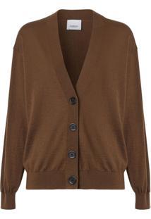 Burberry Vintage Check Detail Merino Wool Cardigan - Marrom