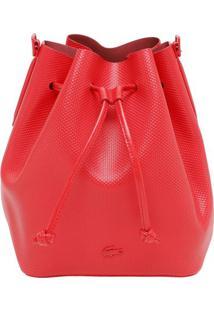 Bolsa Saco Texturizada Com Couro - Vermelha - 26X25Xlacoste