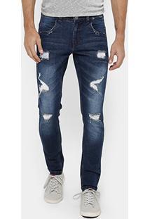Calça Skinny Jeans Rock & Soda Rasgos Escura Masculina - Masculino