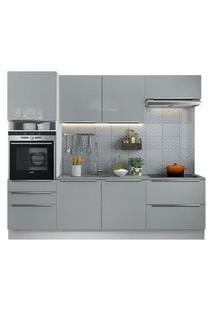 Cozinha Completa Madesa Lux Com Armário E Balcão 6 Portas 5 Gavetas Branco/Cinza Cor:Branco/Cinza