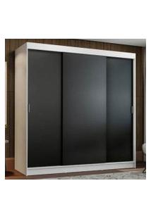 Guarda-Roupa Casal Madesa Reno 3 Portas De Correr Branco/Preto Cor:Branco/Preto