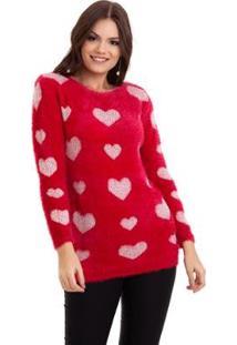 Suéter Kinara Pelinho Coração Feminino - Feminino-Vermelho
