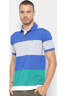 e5795c121d ... Camisa Polo Aleatory Estampa Listrada Masculina - Masculino-Azul+Mescla