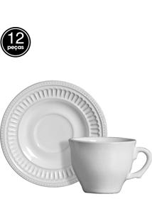 Conjunto 6 Xícaras De Café Poppy Branco Scalla