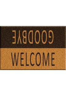 Capacho De Vinil Welcome/Goodbye Amarelo Único Love Decor