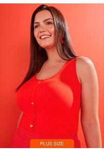 Blusa Malha Canelado Traxy Vermelho