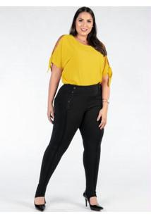 Blusa Plus Size Amarela Com Detalhe Nas Mangas