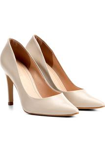 Scarpin Couro Shoestock Salto Alto - Feminino-Off White