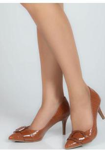 Sapato Feno Scarpin Fivela Caramelo