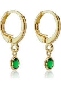Brinco Piuka Argolinha Articulada Zircônia Esmeralda Folheado A Ouro 18K - Feminino-Verde