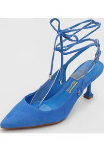 Scarpin Santa Lolla Amarraã§Ã£O Azul - Azul - Feminino - Couro - Dafiti