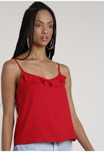 Regata Feminina Com Babado Alça Fina Decote Redondo Vermelha
