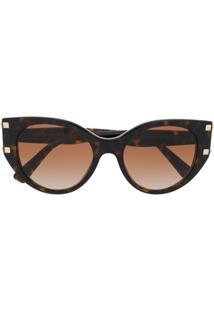 Valentino Eyewear Óculos De Sol Valentino Garavani Rockstud - Marrom