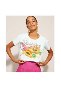"""Camiseta De Algodão Cropped """"Salada Mista"""" Manga Curta Verde Claro"""