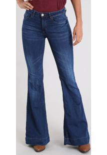 b6e12c515 CEA. Calça Jeans Feminina Super Flare Cintura Alta Azul Escuro
