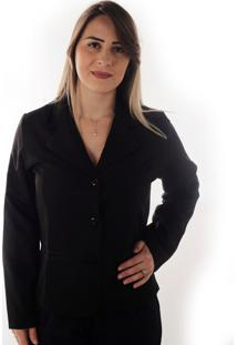 Blazer Feminino Fashion Style Two Way Basic -Preto Ks Casual & Sport