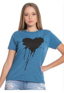 Blusa Feminina Com Coração Azul Mescla