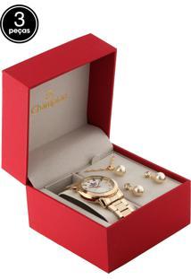 Kit 3 Pçs Relógio Champion Cn26618B Dourado