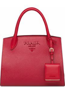 Prada Bolsa Shopping Monochrome - Vermelho