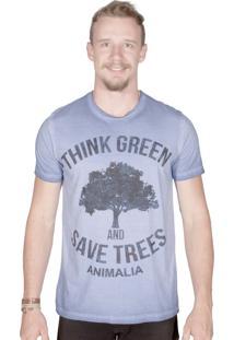 Camiseta Animalia Lavagem Diferenciada Azul