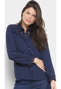 Camisa Manga Longa Chic Up Guipir Feminina - Feminino-Azul Escuro