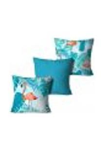 Kit 3 Capas Para Almofadas Decorativas Flamingo Blue 45X45Cm
